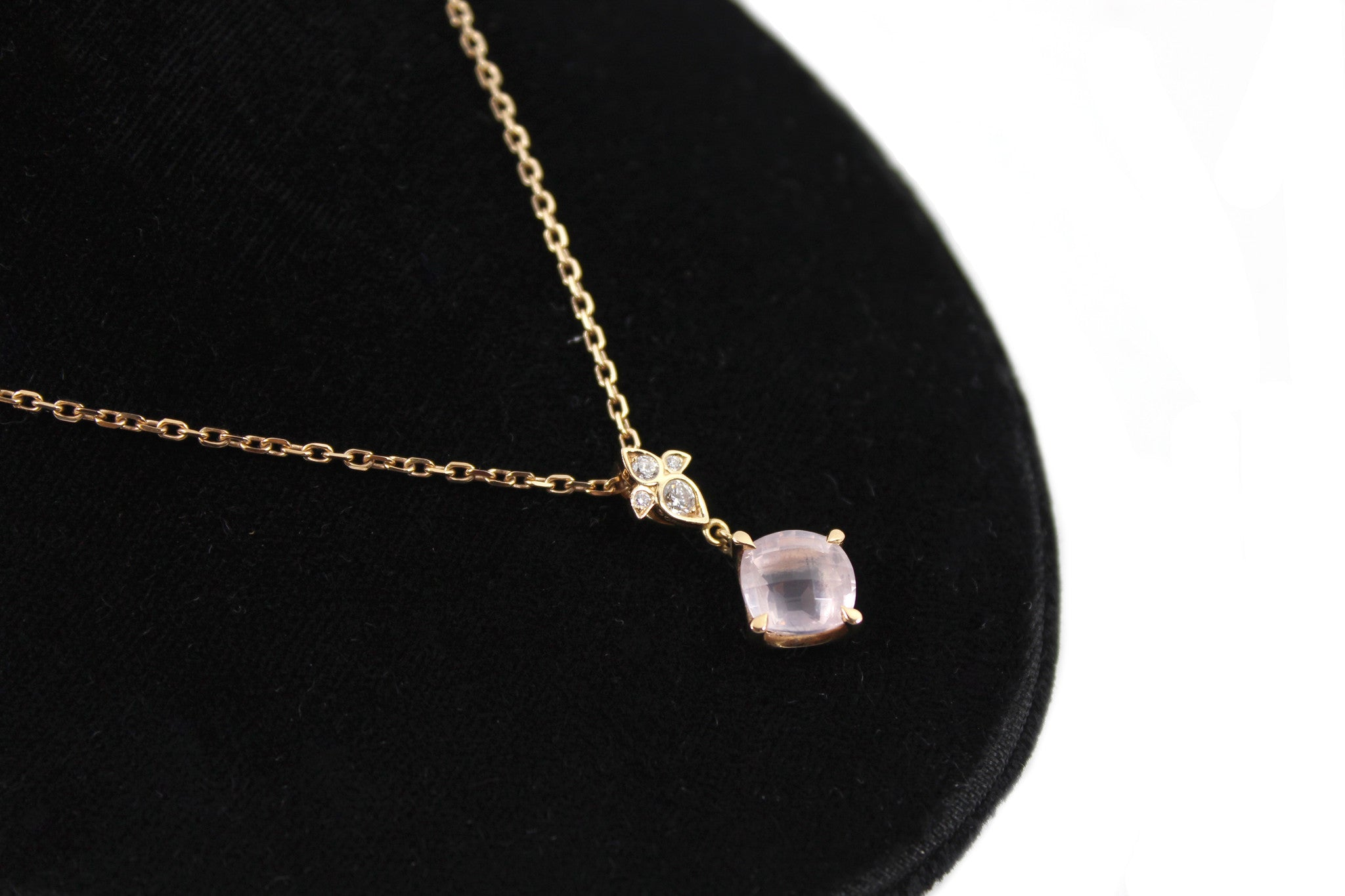 Cartier Pink Quartz & Diamond Inde Mysterieuse 'Lotus' 18k Gold Chain Necklace