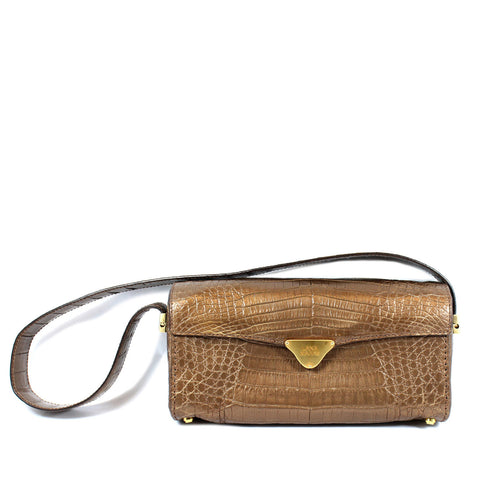 Lana Marks Metallic Bronze Crocodile Bag - Encore Consignment - 12