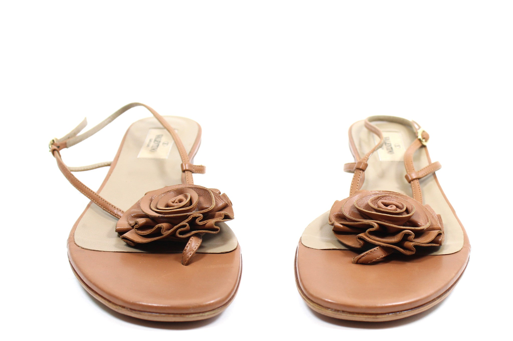 Valentino Brown Leather Sandals w Floral Detail (Size 39)