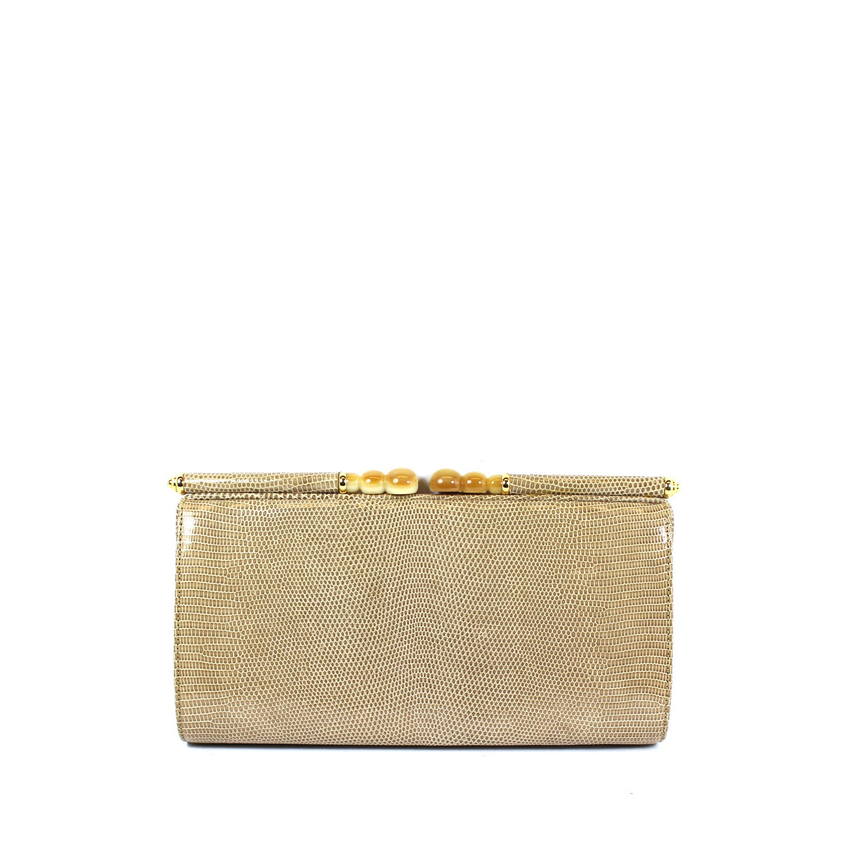 Gucci Vintage Taupe Lizard Clutch - Encore Consignment - 1