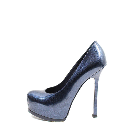 Yves Saint Laurent 'Tribtoo' Navy Patent Leather Pumps (Size 37.5)