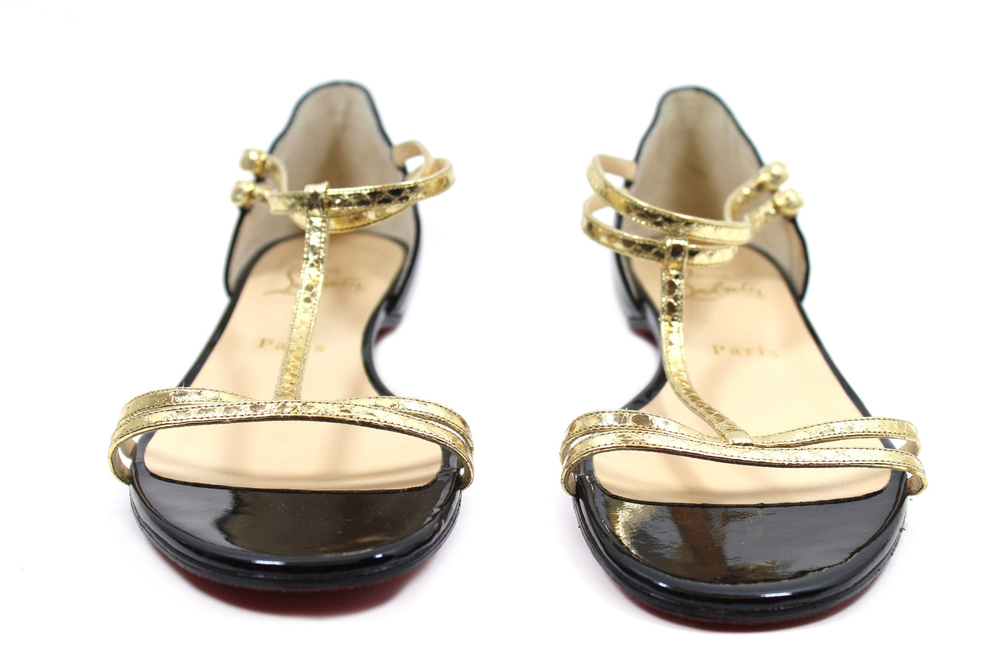 Christian Louboutin 'Arnold' Black Patent Leather & Gold Water Snake Sandals (Size 39.5)