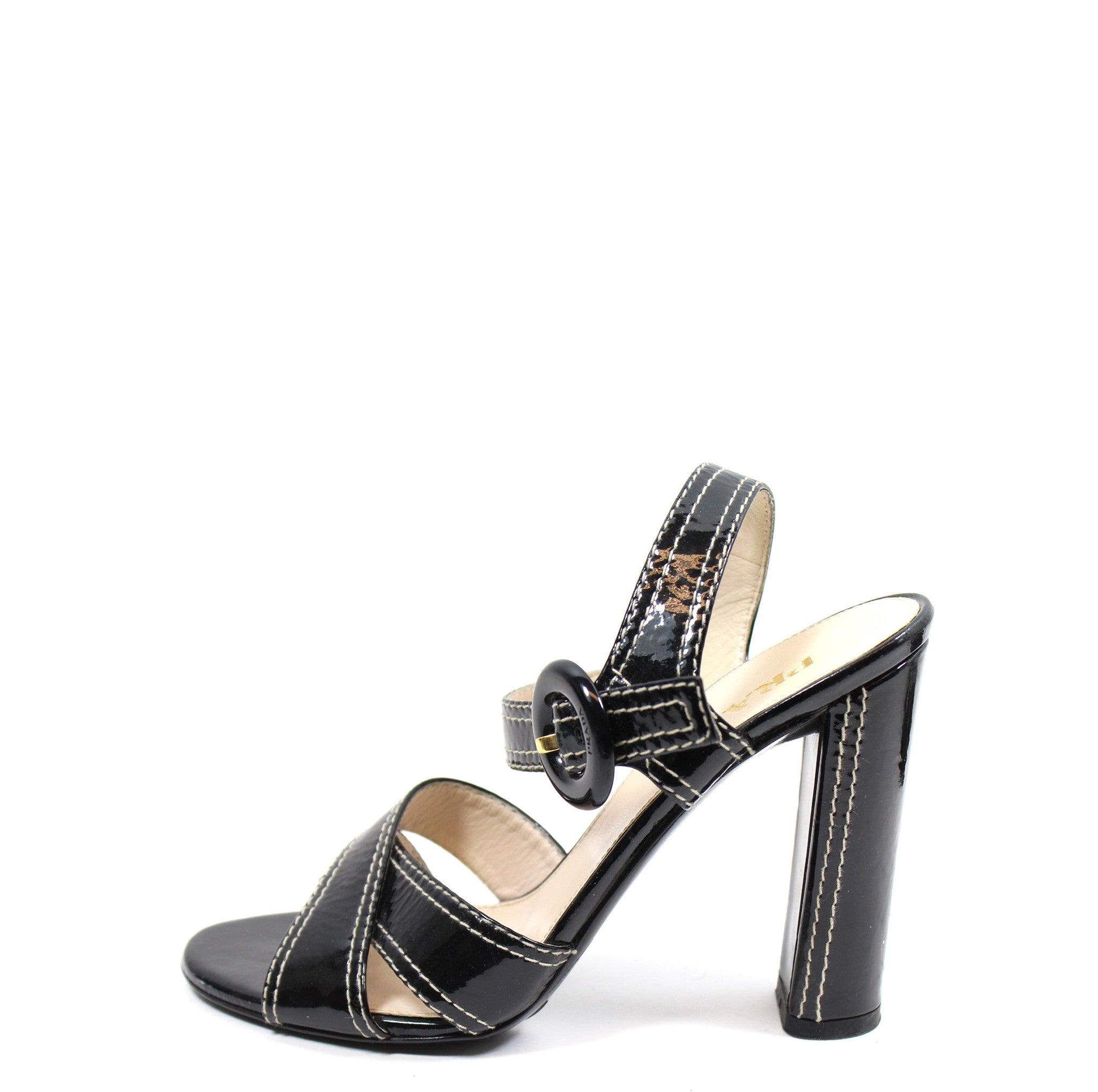 Prada Patent Leather Open Toe Sandals w/ Contrast Top Stitch (Size 37)