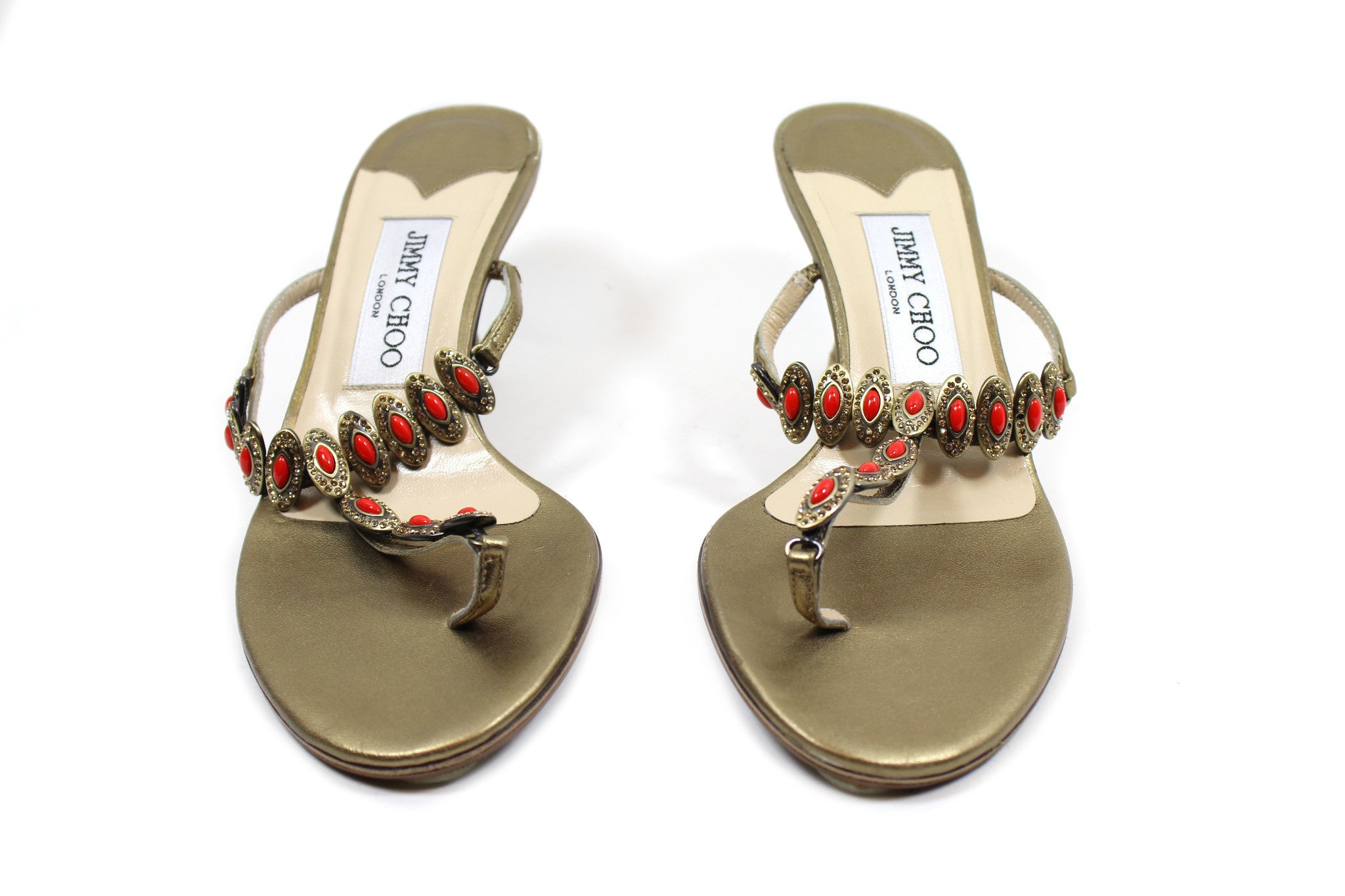 Jimmy Choo Gold Sandals w/ Red Beading (Size 36.5)