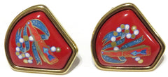 HERMES Vintage Cloisonné Red Blue White Enamel Gold Plated Clip On Earrings 80's