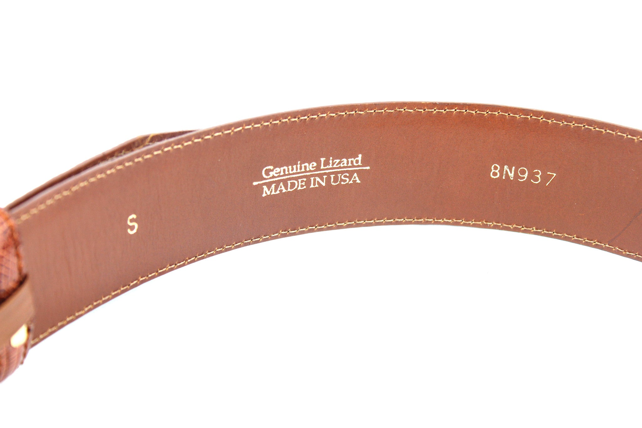 Oscar de la Renta Brown Lizard Leather Belt (Size S) - Encore Consignment - 6