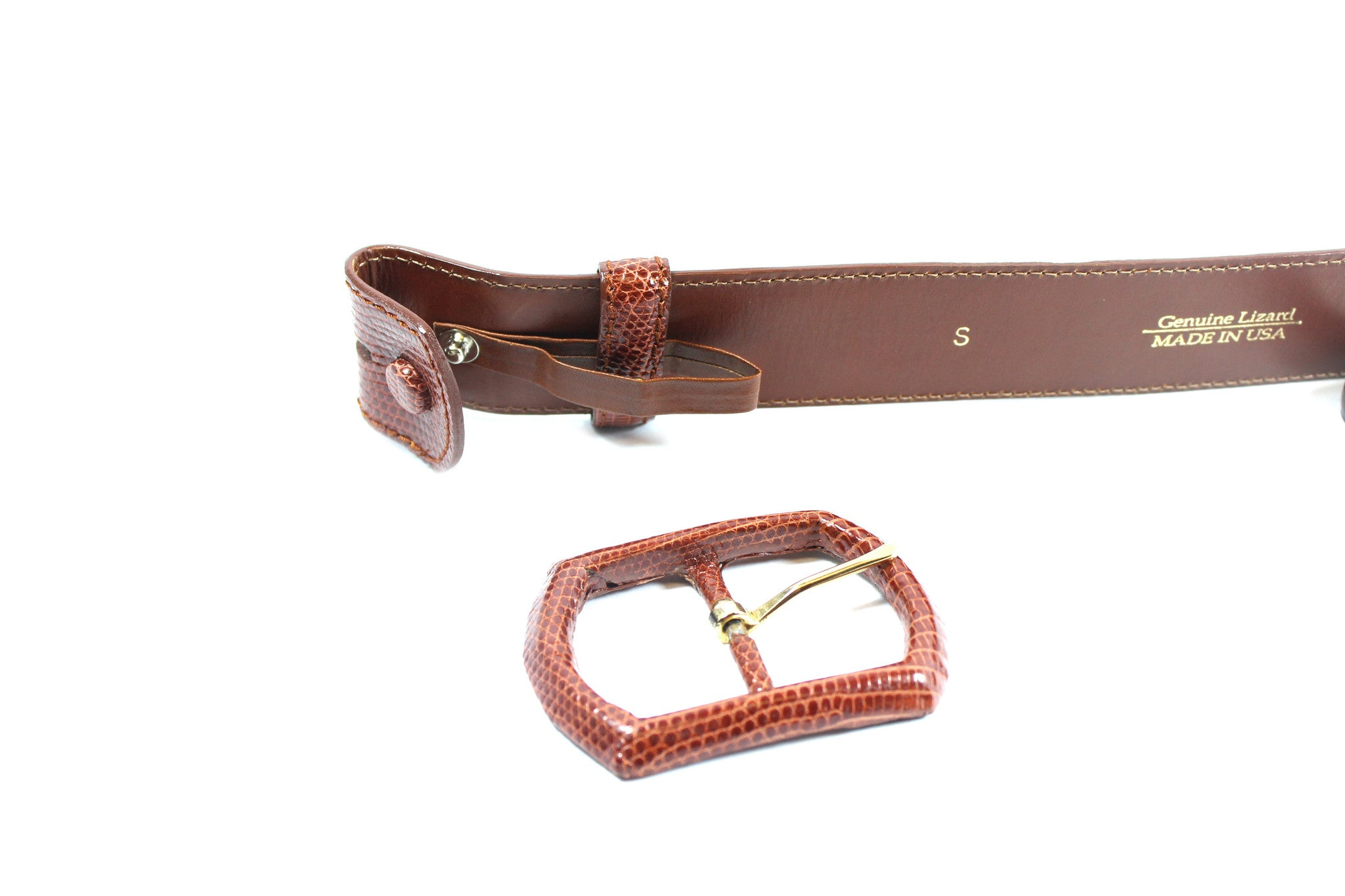 Oscar de la Renta Brown Lizard Leather Belt (Size S) - Encore Consignment - 7