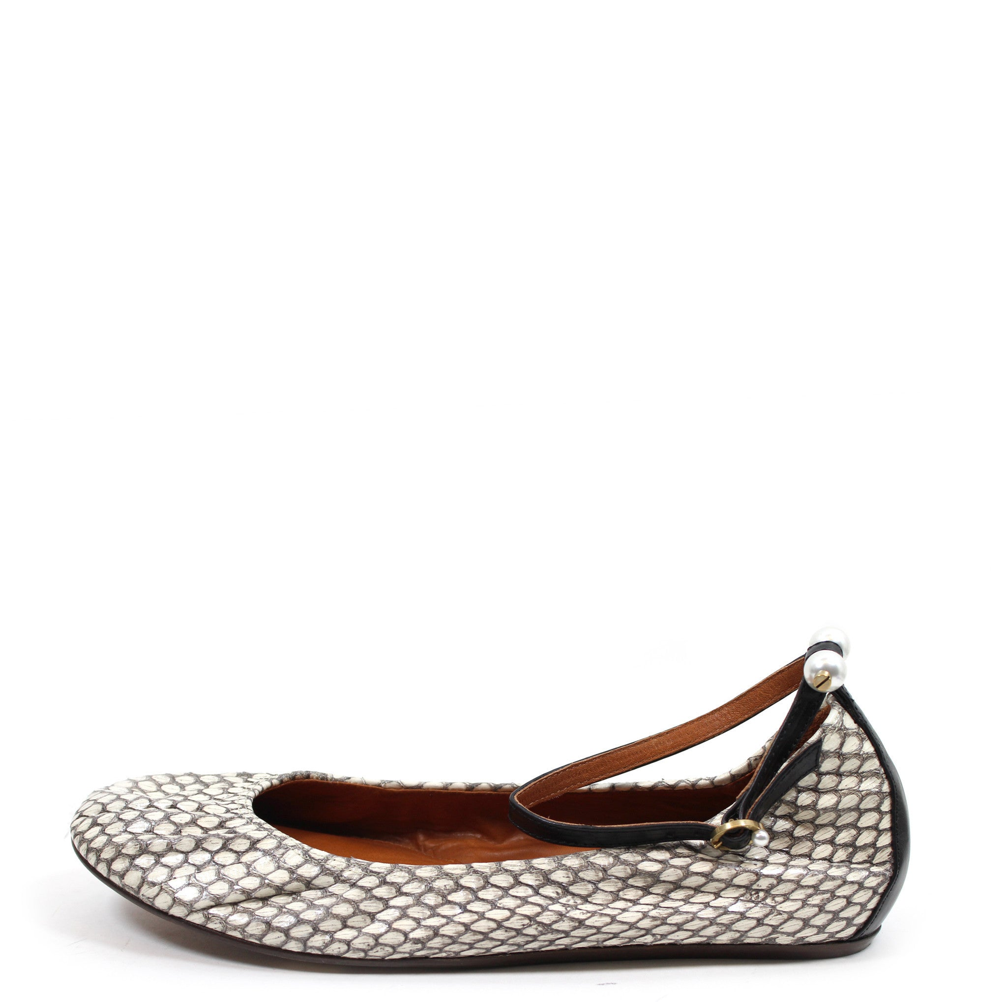 c9626c5b291 Lanvin Snakeskin Pearl Detail Ballet Flats w  Ankle Strap (Size 38.5) – Encore  Consignment