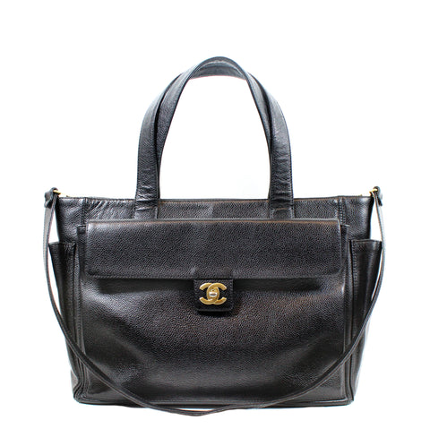 Chanel Vintage Black Caviar Leather Flap Tote