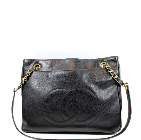 Chanel Vintage Black Caviar Leather Large Tote