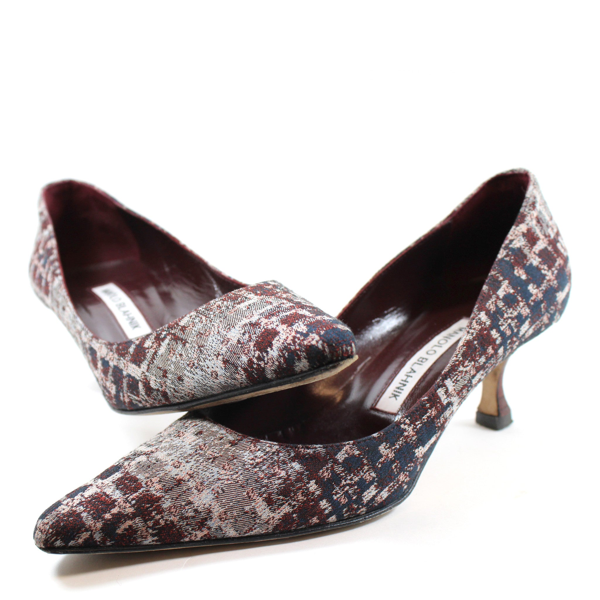 Manolo Blahnik Distressed Grid Print Pumps (Size 36.5)