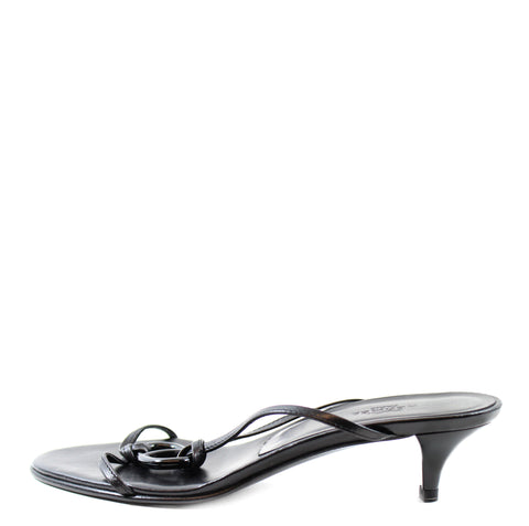 Hermes Black Leather Open Toe Sandals (Size 36)
