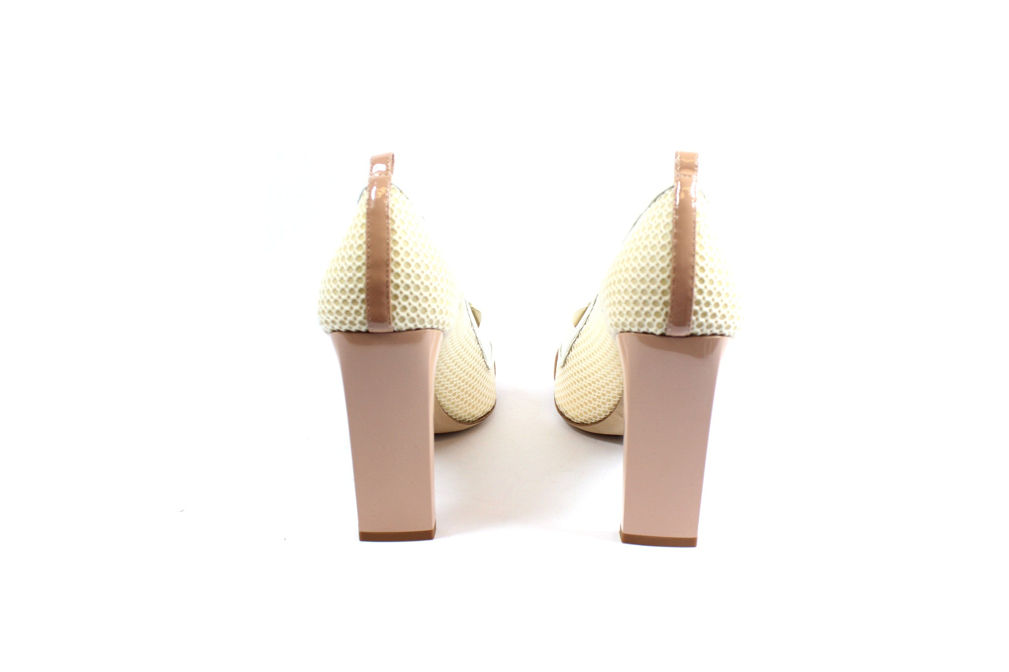 Reed Krakoff Mesh Atlas Nude and White Pumps (Size 38.5) - Encore Consignment - 5