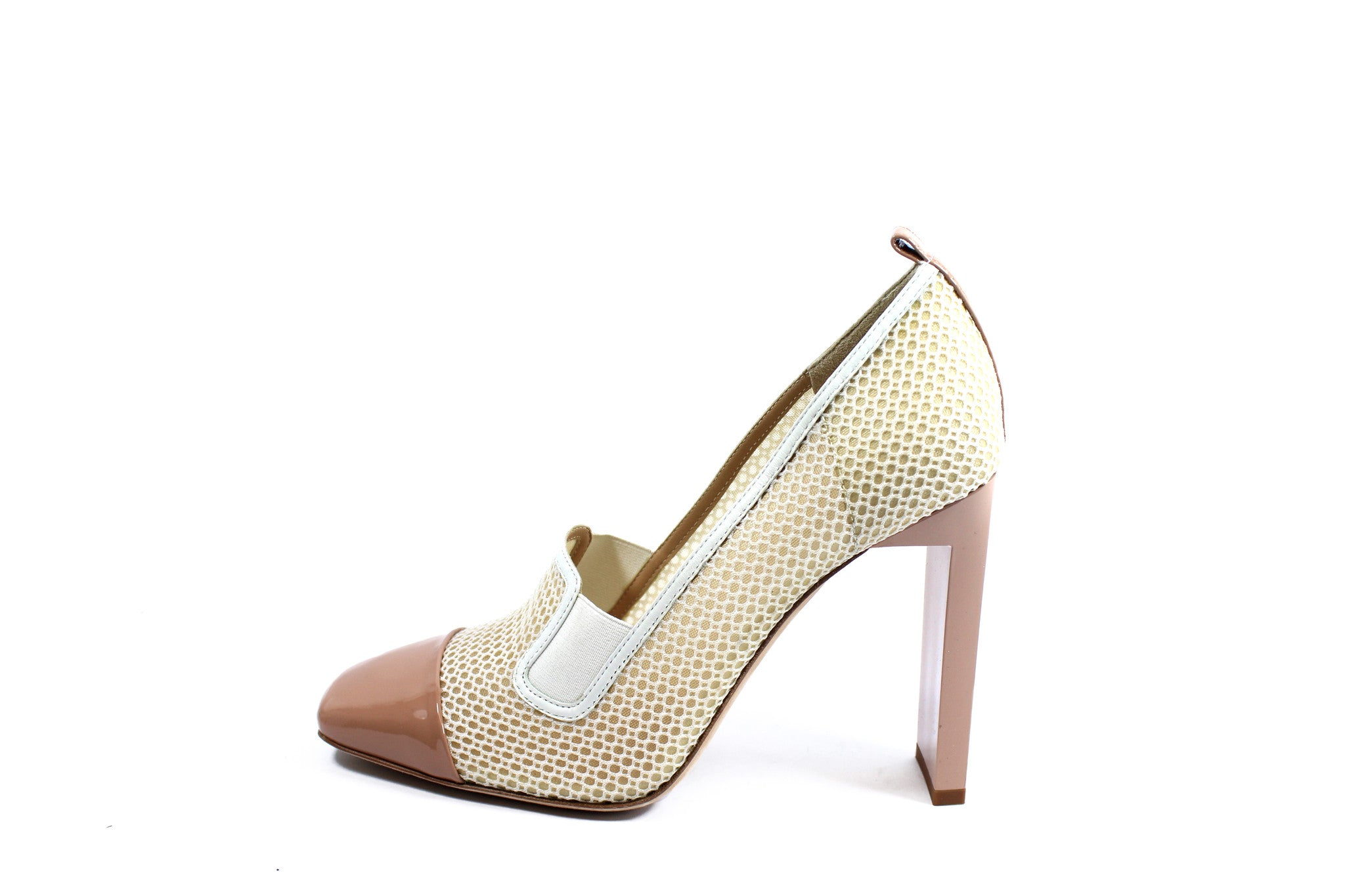Reed Krakoff Mesh Atlas Nude and White Pumps (Size 38.5) - Encore Consignment - 2