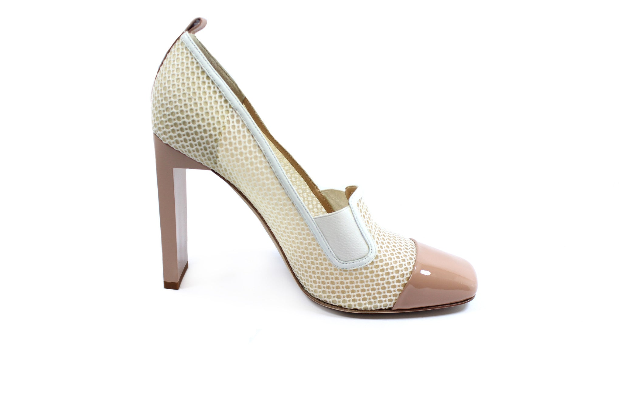 Reed Krakoff Mesh Atlas Nude and White Pumps (Size 38.5) - Encore Consignment - 7