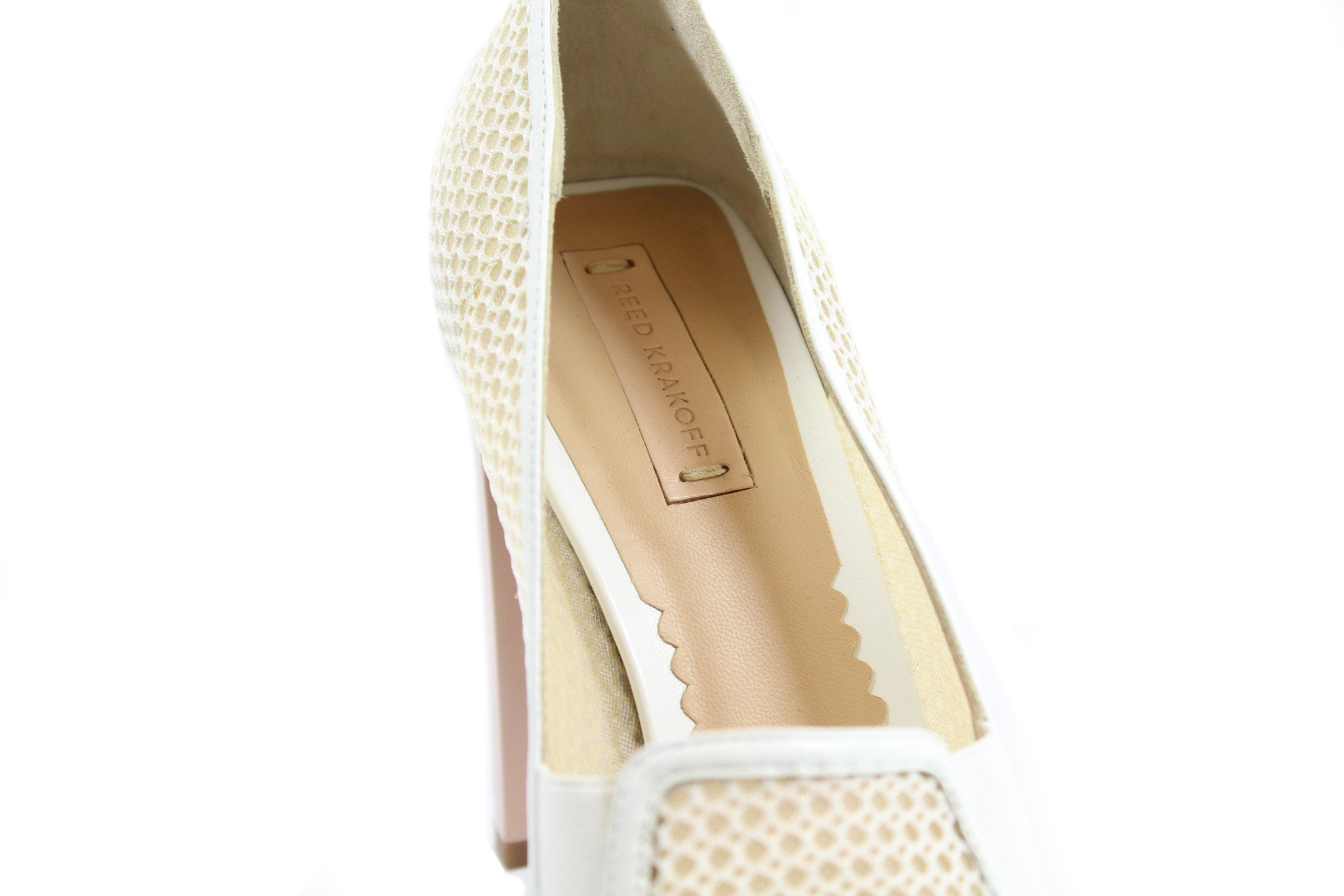Reed Krakoff Mesh Atlas Nude and White Pumps (Size 38.5) - Encore Consignment - 6