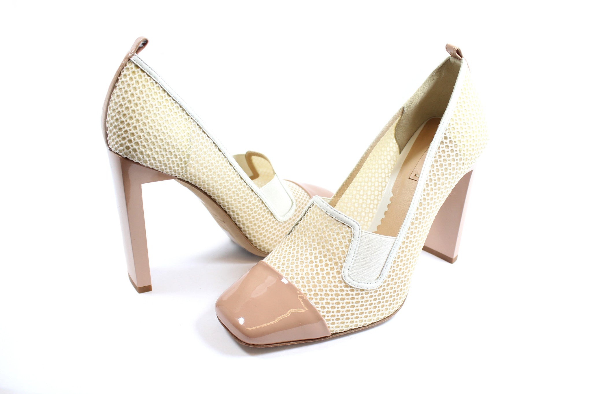 Reed Krakoff Mesh Atlas Nude and White Pumps (Size 38.5) - Encore Consignment - 3