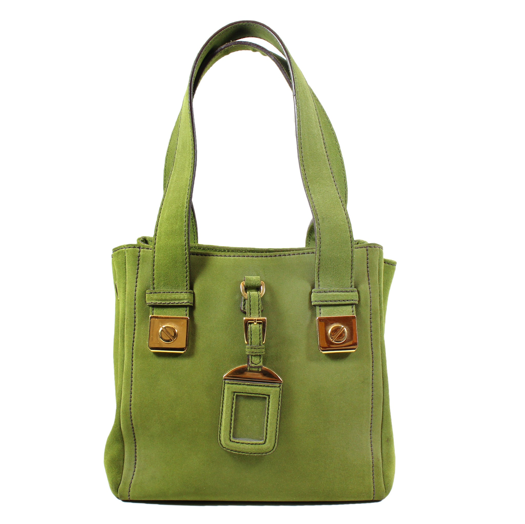 Prada Small Green Suede Tote