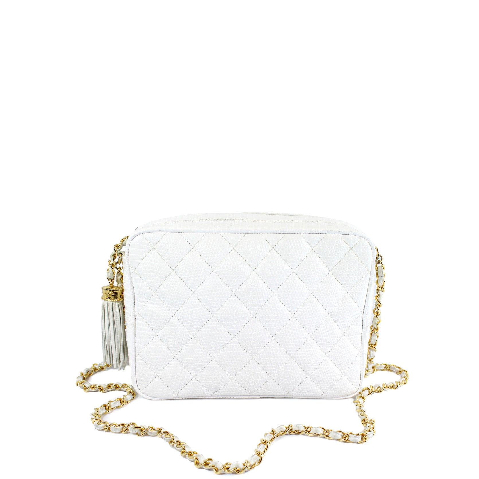 Chanel Vintage White Lizard Leather Tassel Bag - Encore Consignment - 9