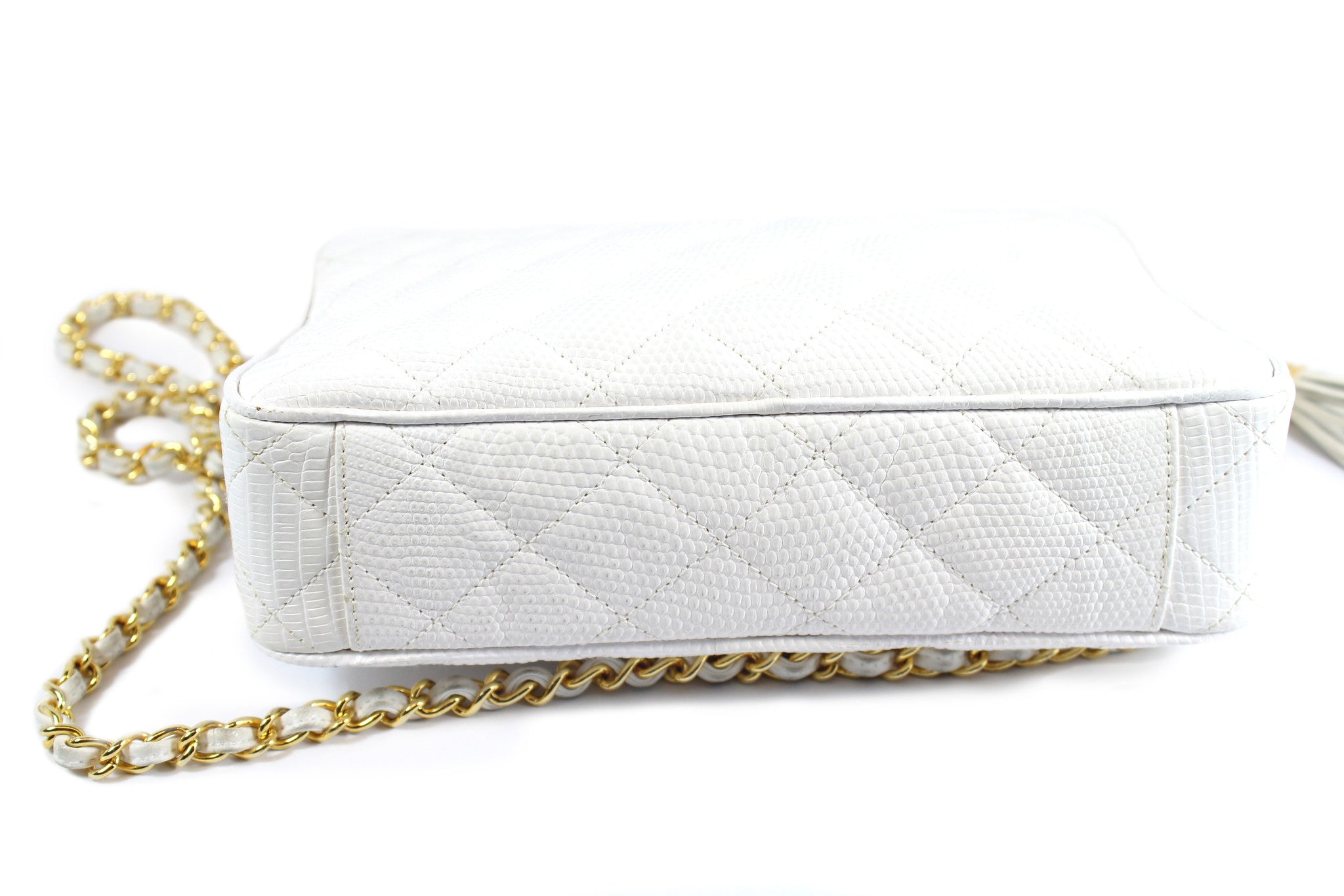 Chanel Vintage White Lizard Leather Tassel Bag - Encore Consignment - 8