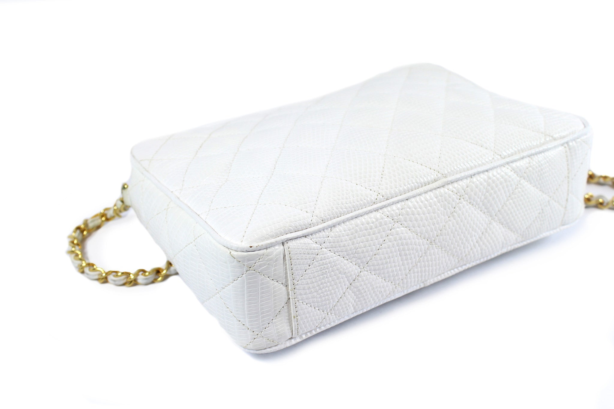 Chanel Vintage White Lizard Leather Tassel Bag - Encore Consignment - 7
