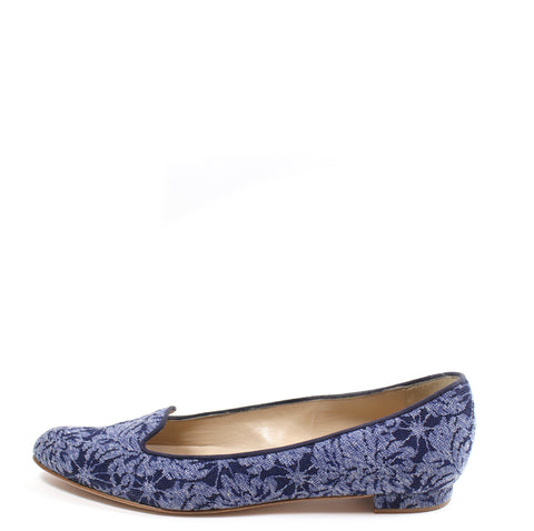 Manolo Blahnik Navy Floral Jacquard Loafers (Size 38)