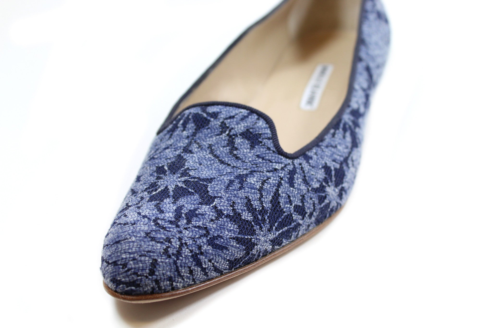 'Sold' Manolo Blahnik Navy Floral Jacquard Loafers (Size 38)