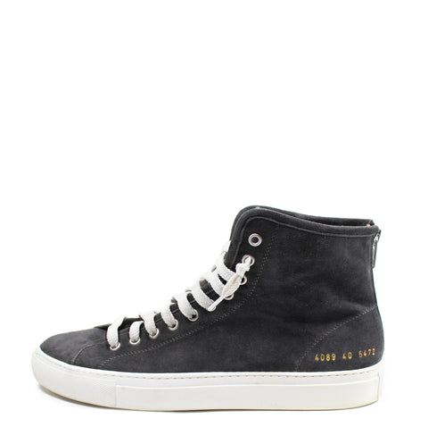 Common Projects Grey 'Tournament' Suede High-Top Trainers (Size 40)