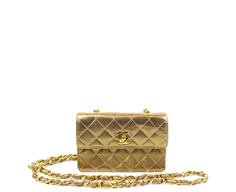 Chanel Metallic Bronze Micro Mini Leather Crossbody Bag - Encore Consignment - 1