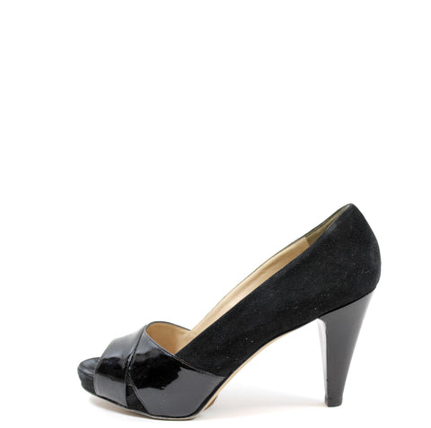 Fendi Black Suede and Patent Leather Pumps (Size 37.5)