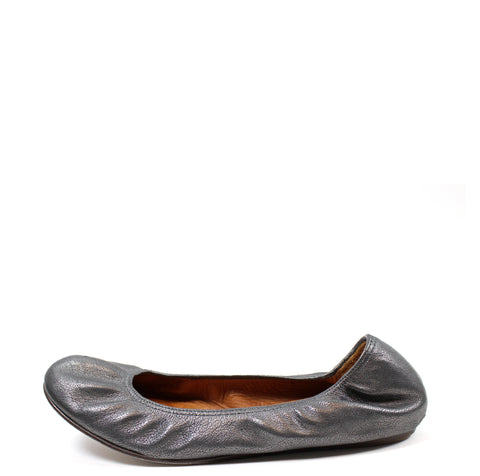 Lanvin Metallic Grey Goatskin Leather Ballet Flats (Size 40)