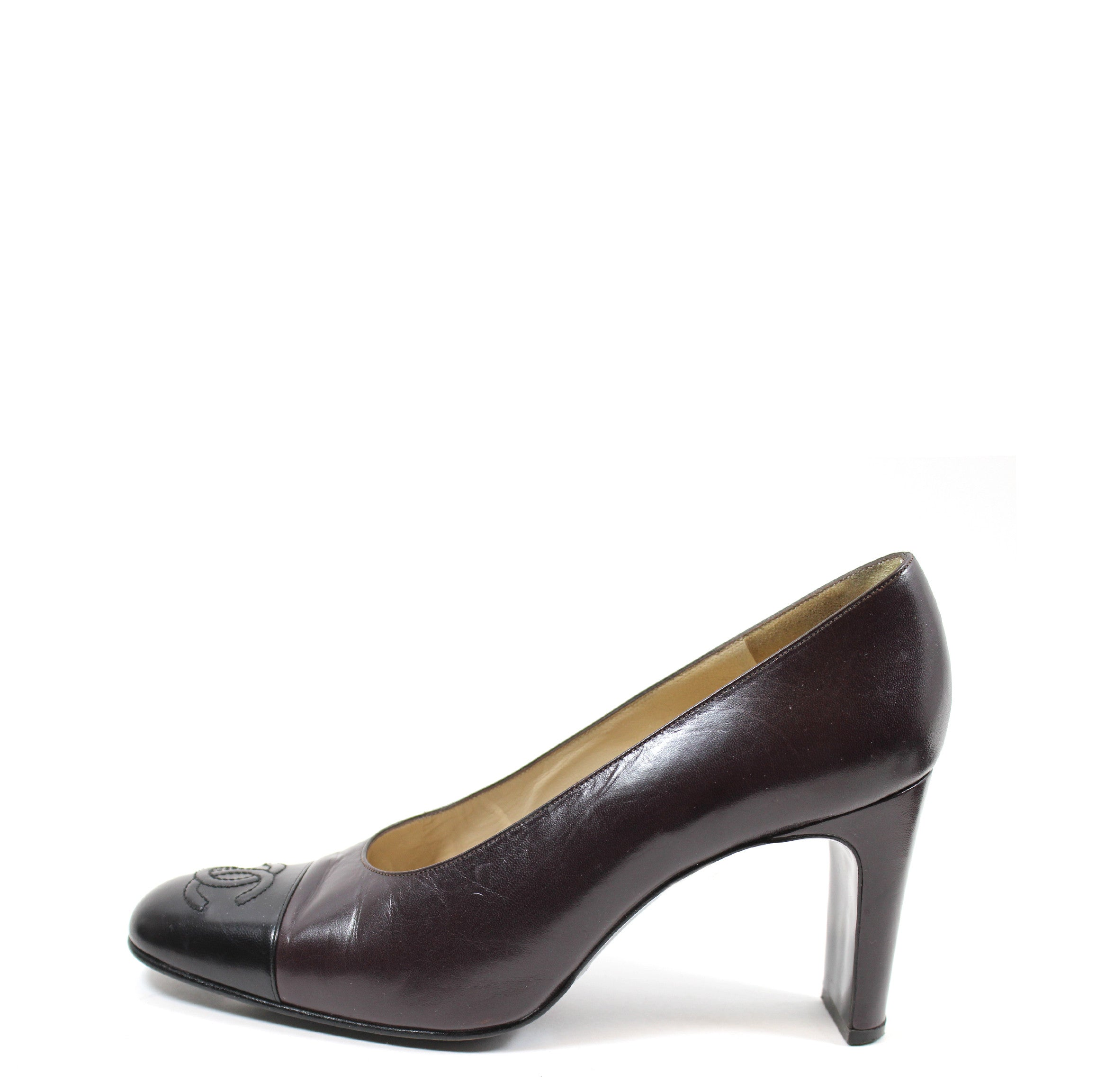 Chanel Brown and Black Leather Pumps (Size 37.5)