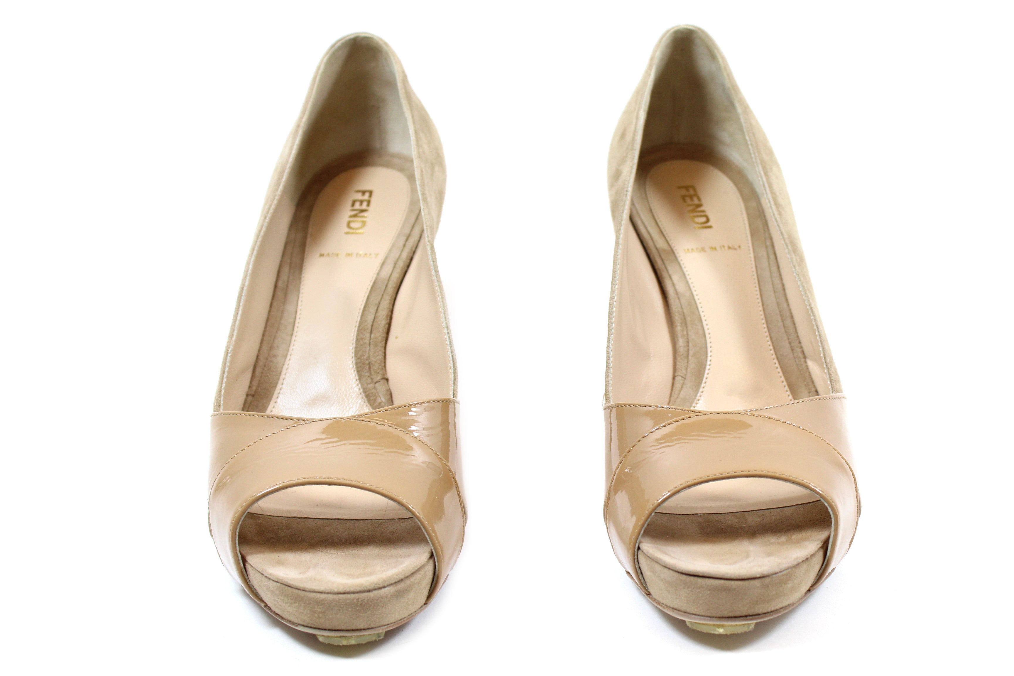 Fendi Beige Suede and Patent Leather Pumps (Size 37.5)