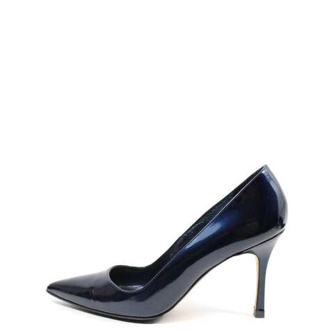 Manolo Blahnik Navy Patent Leather Pumps (Size 39)