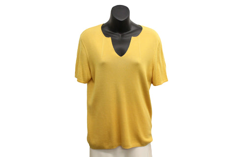 Akris Yellow Cashmere and Silk Top (Size 12) - Encore Consignment - 1