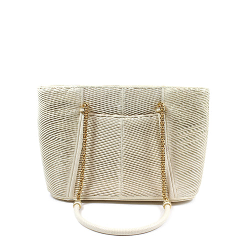 Judith Leiber Cream Leather Tote