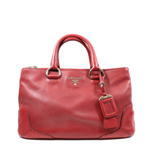 Prada Red Leather 'Vitello Daino' Double Zip Tote