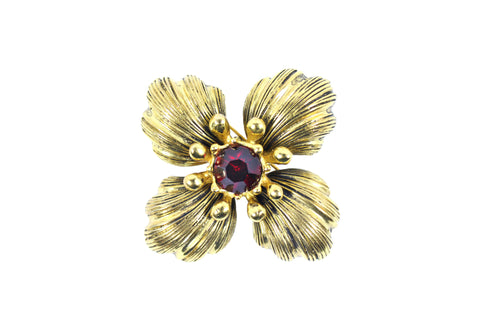 Yves Saint Laurent Vintage Red Jeweled Flower Brooch - Encore Consignment - 1