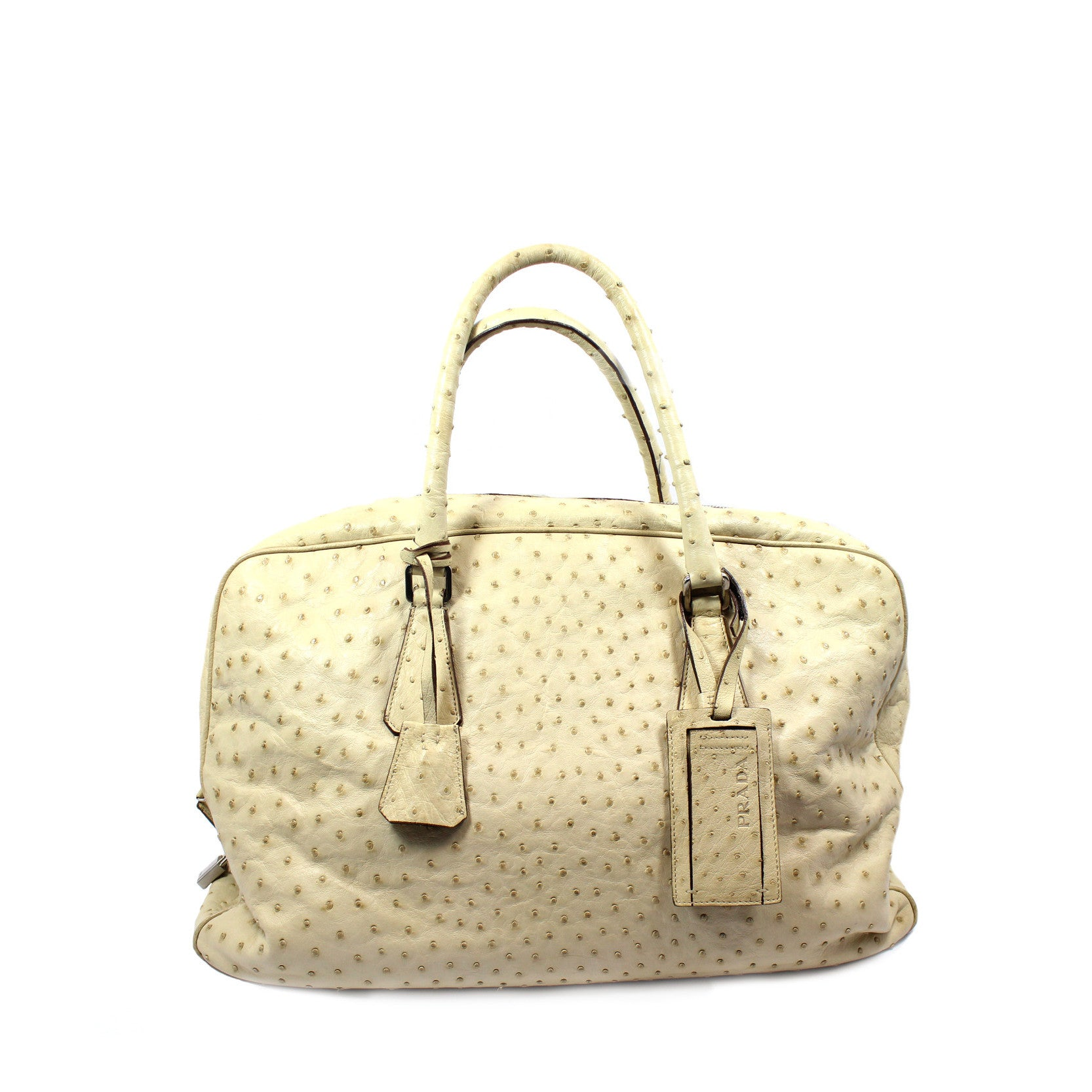 Prada Beige Ostrich Large Duffle Bag - Encore Consignment - 1