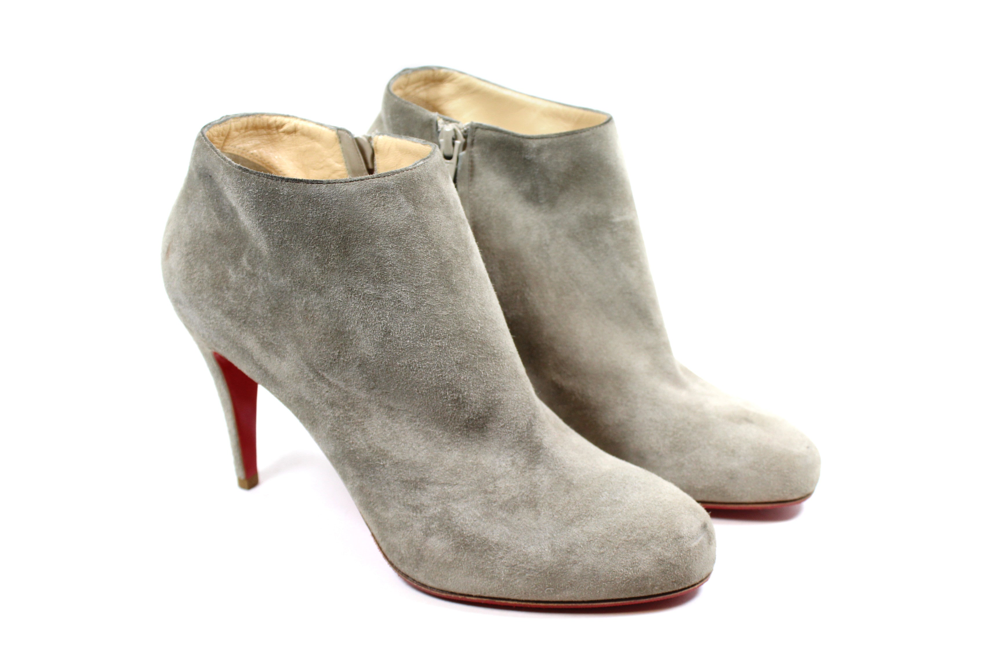 Christian Louboutin Grey Suede Leather Booties (Size 39.5)