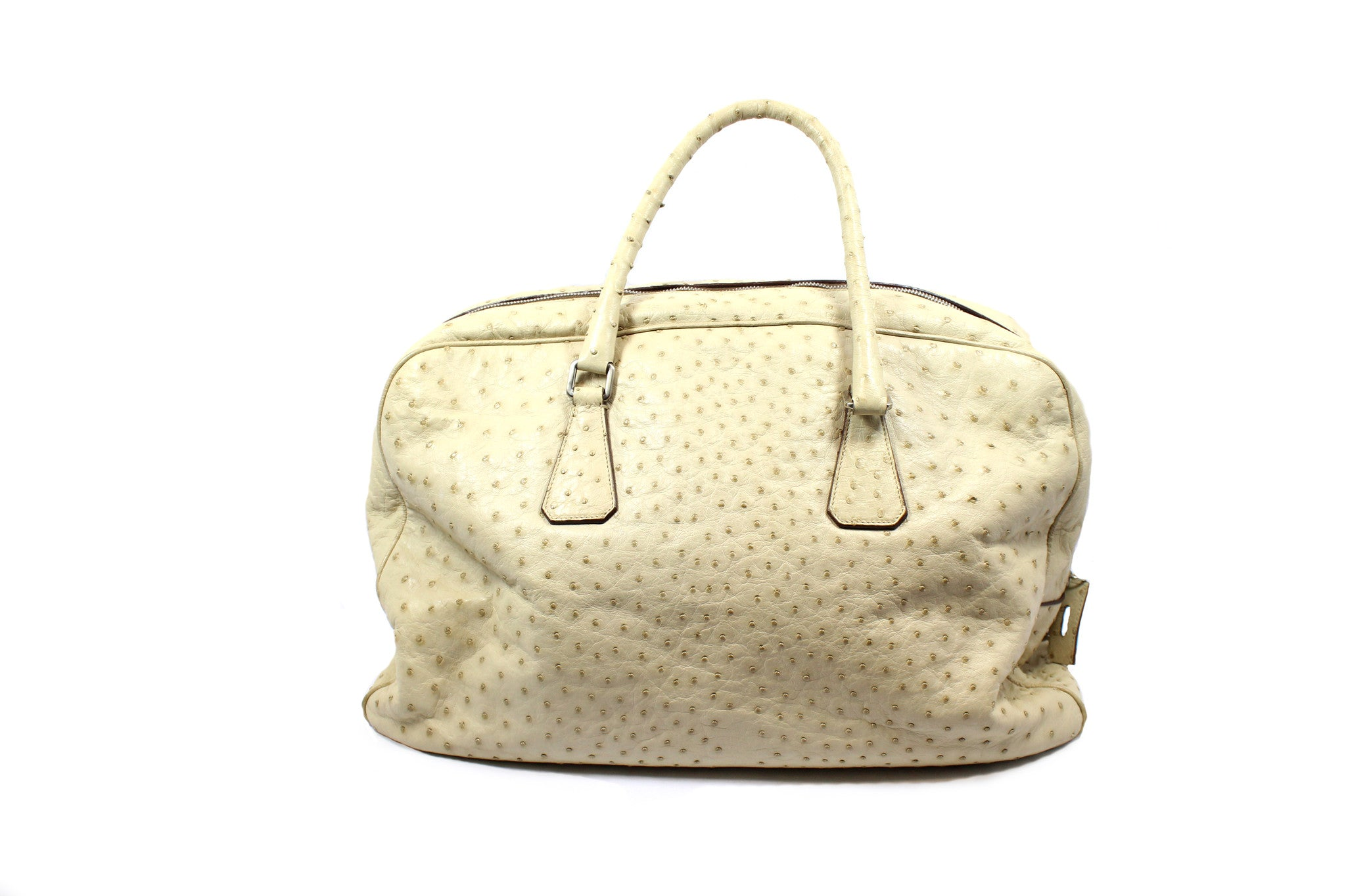 Prada Beige Ostrich Large Duffle Bag - Encore Consignment - 2