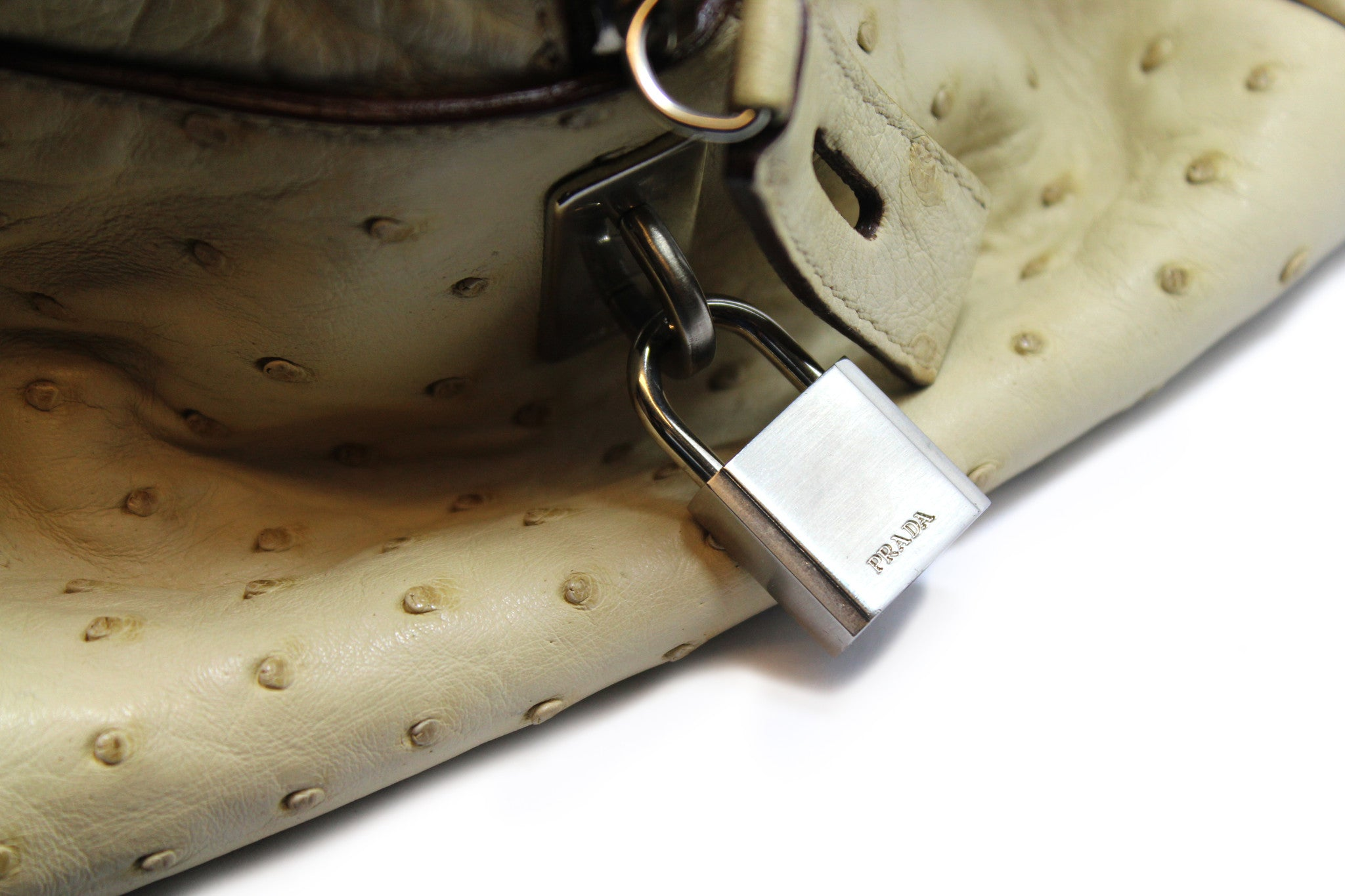 Prada Beige Ostrich Large Duffle Bag - Encore Consignment - 5