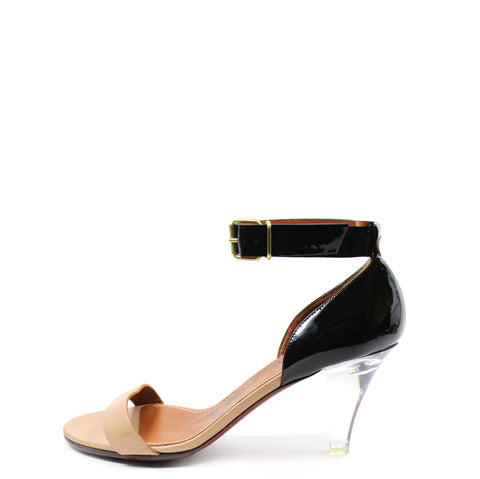 Lanvin Black Patent Leather and Nude Sandals With Lucite Heels (Size 39)