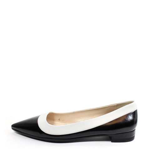 Prada Bi-Color Spazzolato Leather Point-Toe Flats (Size 39)