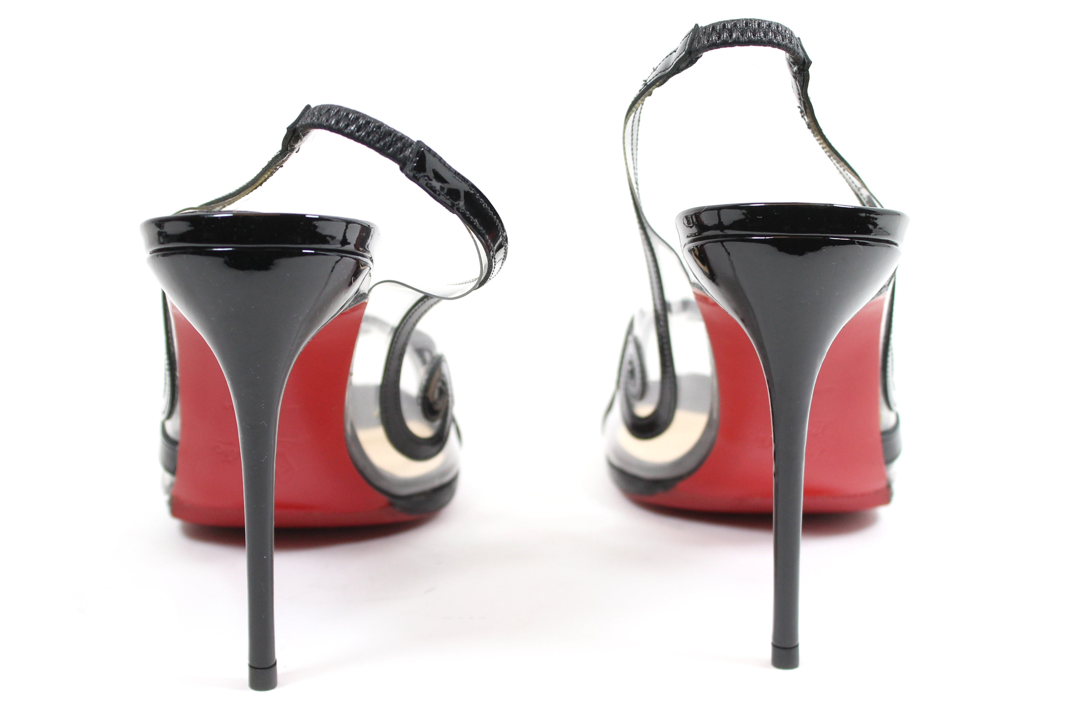 Christian Louboutin 'Au Hameau' Black Patent Leather PVC Slingbacks (Size 39.5)