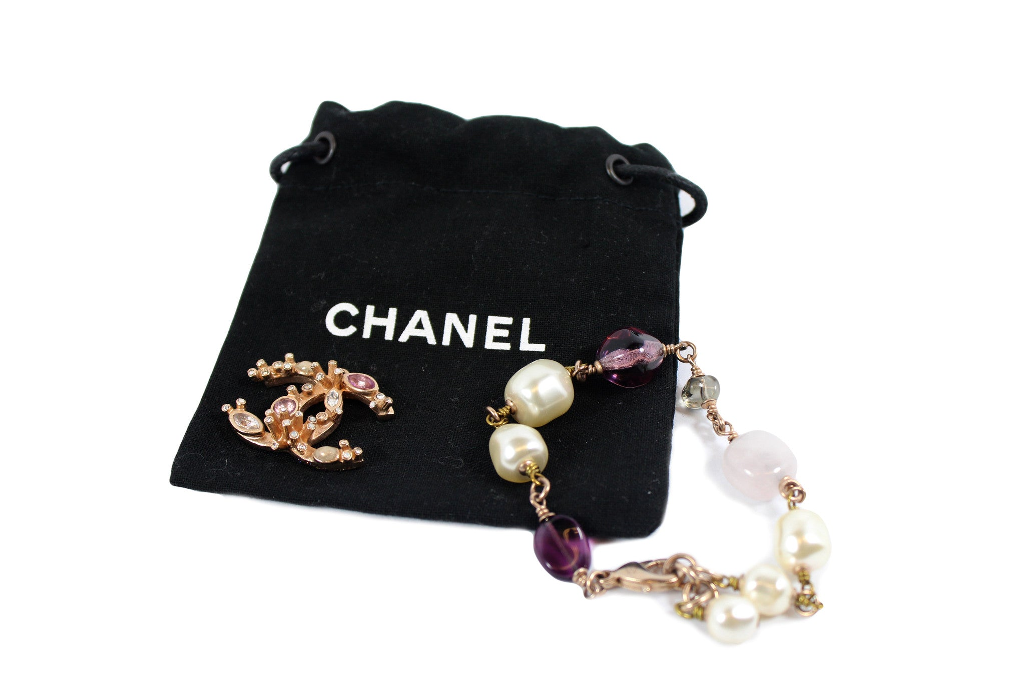 Chanel Pearls and Coral Bracelet - Encore Consignment - 2