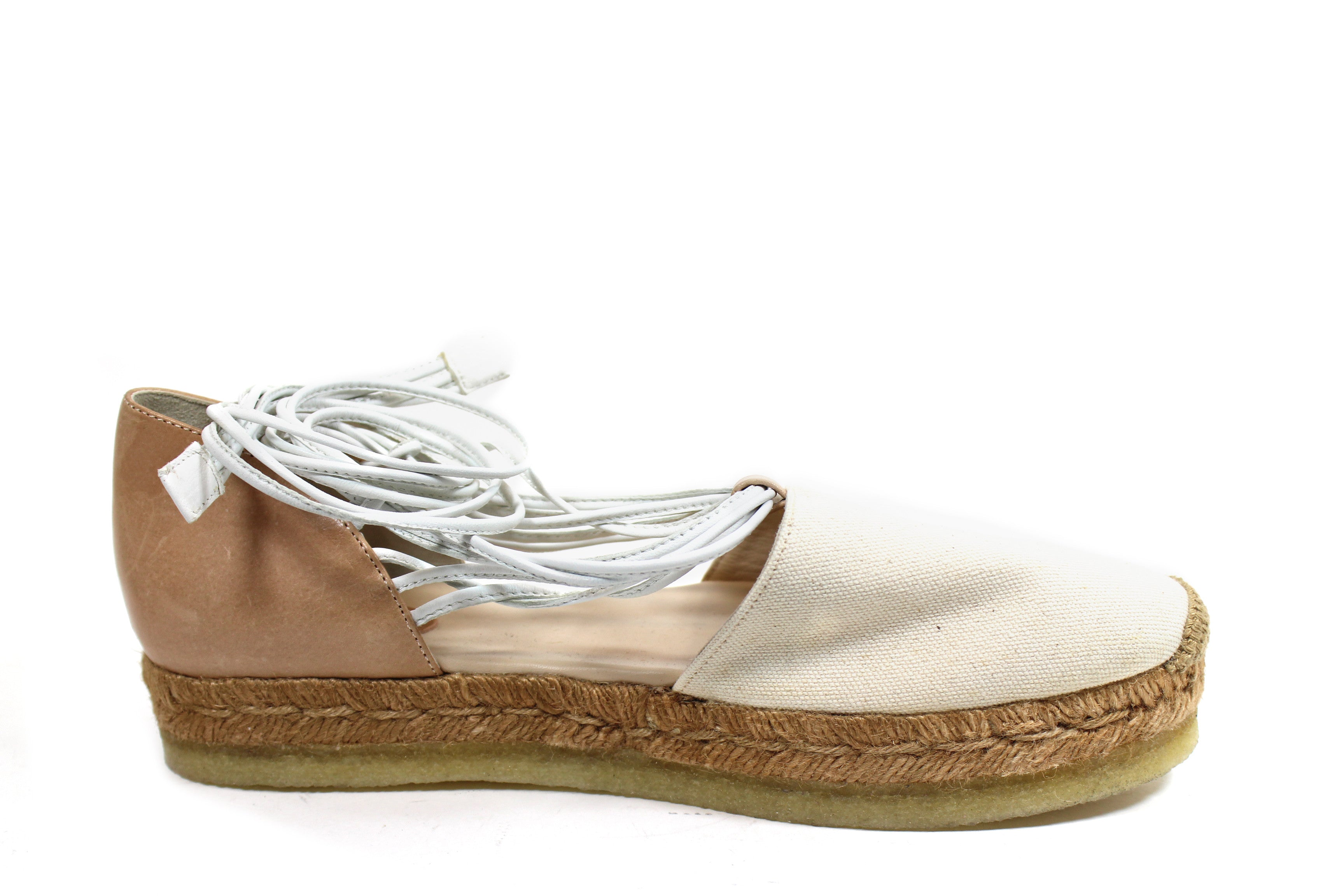 Chloe Canvas and Leather Espadrilles w Leather Ties (Size 39)