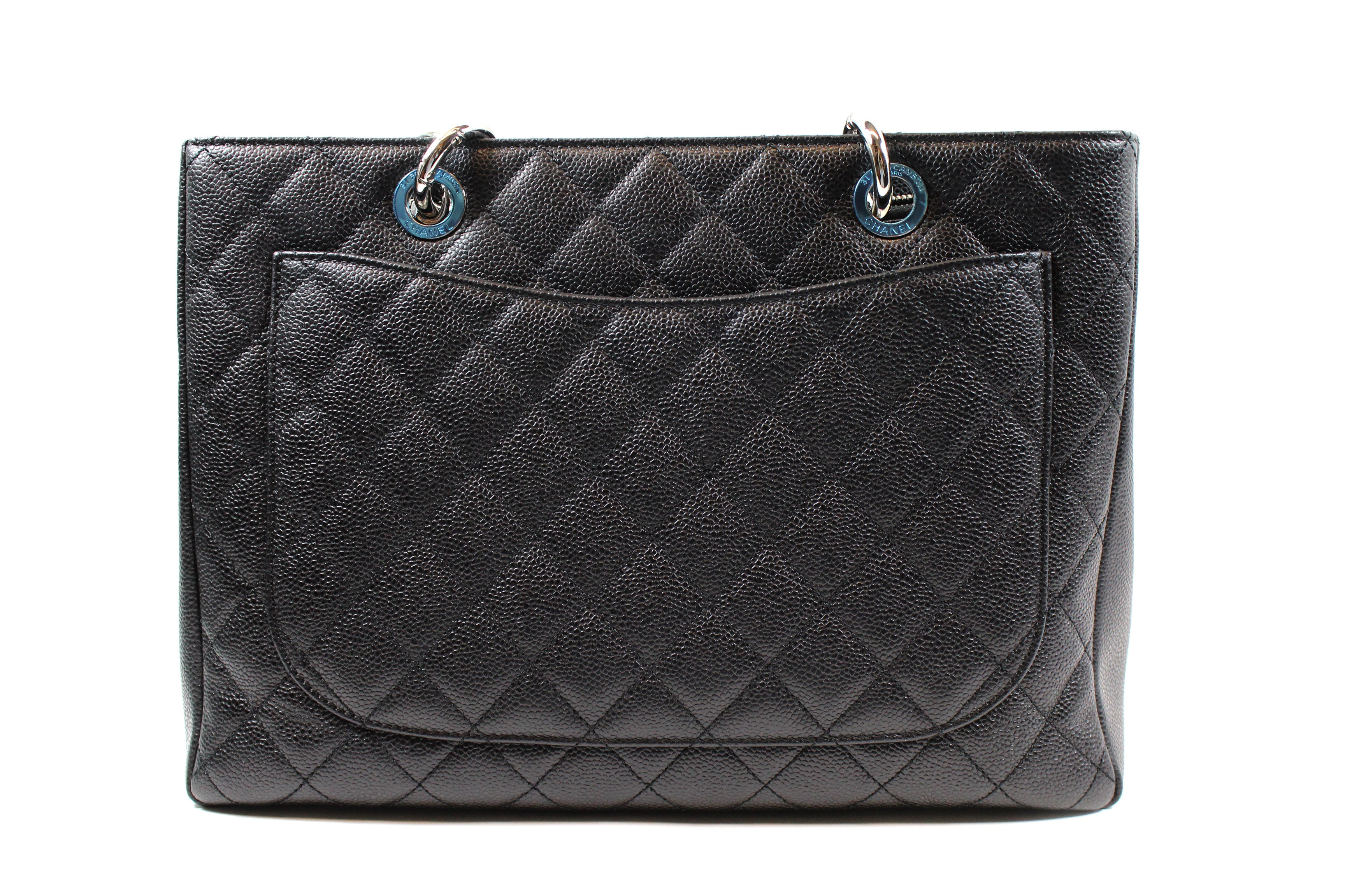 Chanel 'Grand Shopping' Quilted Caviar Black Leather Tote