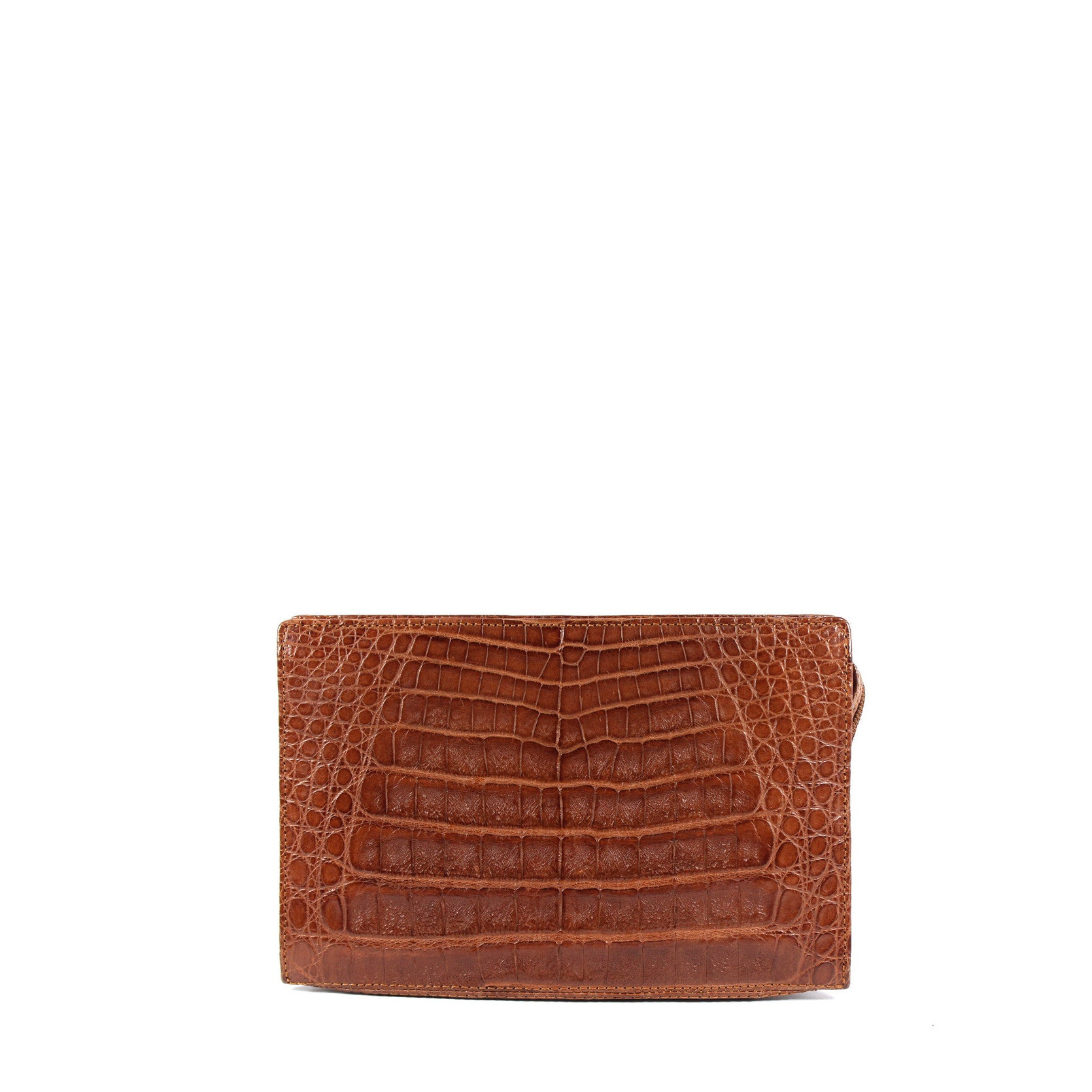 Lana Marks Brown Crocodile Box Clutch - Encore Consignment - 1
