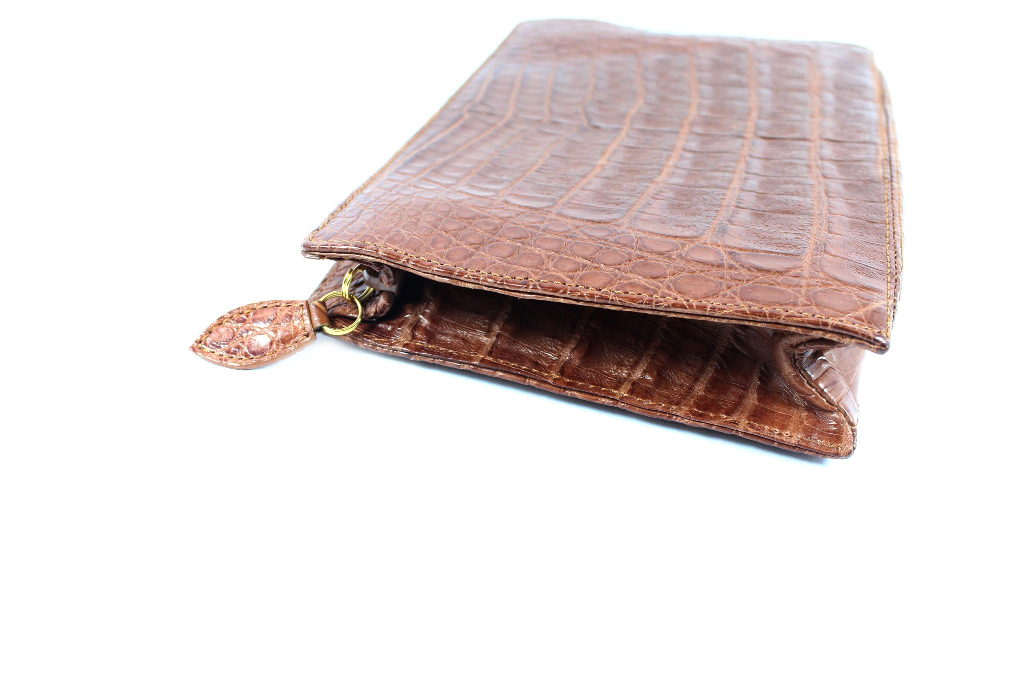 Lana Marks Brown Crocodile Box Clutch - Encore Consignment - 4